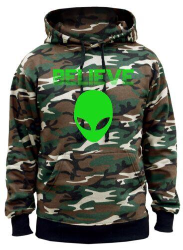 New Men/'s Believe In Aliens Camo Hoodie High Marijuana Fantasy Space Galaxy V356
