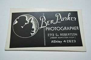 Vintage ben parker photographer los angeles ca business card rare ebay image is loading vintage ben parker photographer los angeles ca business reheart Images
