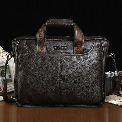 """Men's Genuine Leather Handbag Messenger Shoulder Briefcase 14"""" Laptop BAG 10023"""