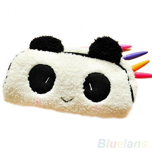 Cute Panda Soft Plush Pencil Case Pen Pocket Cosmetic Makeup Zipper Bag Box BUB
