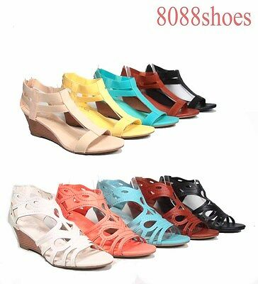 Women's Fashion Cute Summer Low Wedge T-Strap Zipper Sandal Shoes Size 5.5 - 11