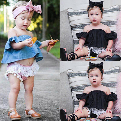 3Pcs Newborn Infant Baby Girl Outfits Clothes Off Shoulder Tops Shorts Headband