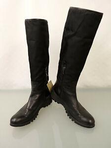 PRADA Leder Stiefel Gr.38,5 Nylon Canvas Boots Krempelschaft Schwarz Braun