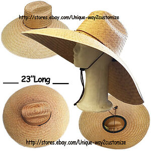 571c95e9 BIG SIZE STRAW HAT WITH CHIN STRING FOR *FARMING FISHING BEACH* WIDE ...