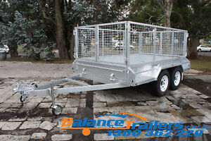 10x6 HOT DIP GALVANISED FULLY WELDED TANDEM TRAILER WITH 900MM REMOVEABLE CAGE