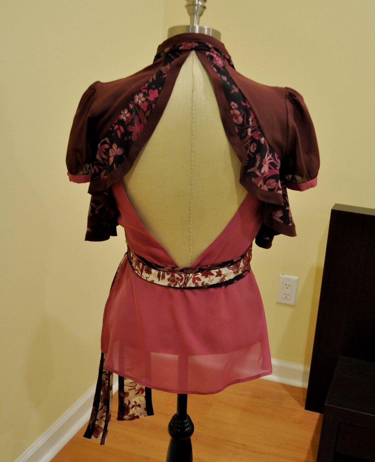 Gucci Silk Print Floral Ruffled Blouse Shirt Top … - image 5