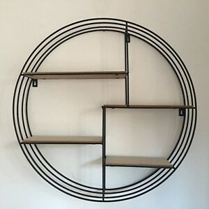 Retro Round Metal And Wood Wall Shelf Boys Bath Room Industrial ...