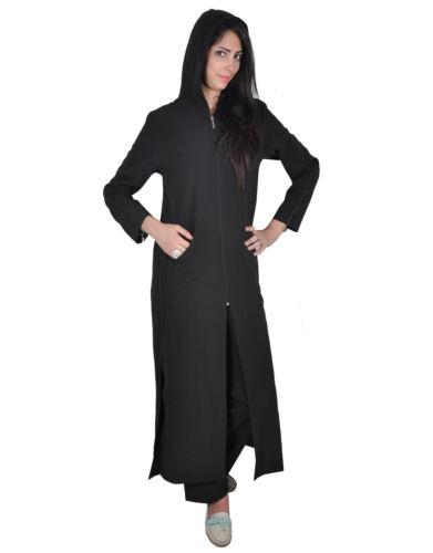 ABY00113 schwarz Zweiteiliges Set Abaya-Hose mit Kapuze und Stick-Bordüren