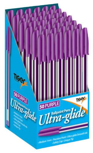 50 Stück Lila Kugelschreiber Stift Premium Ultraglide Kugel Punkt