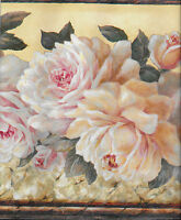 Victorian Pink And Yellow Cabbage Roses On Yellow Wallpaper Border