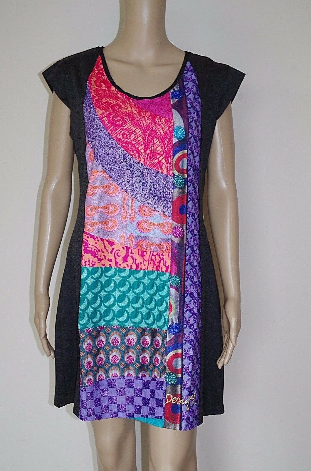 99 DESIGUAL sz L WOMENS DRESS SHORT SLEEVES SARAFAN ZIPPER MIDI MID-CALF WORK