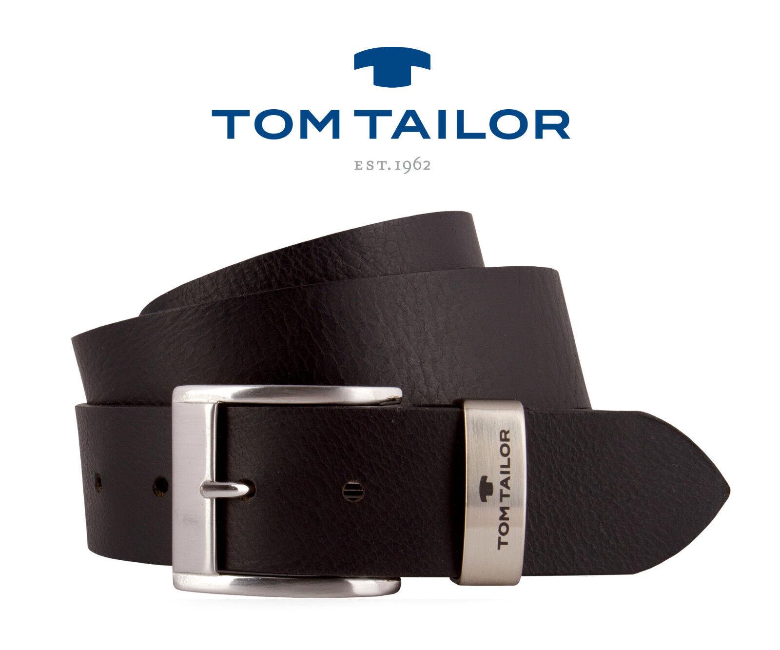 TOM TAILOR Herren Gürtel Herrengürtel Ledergürtel Schwarz 40mm TG1056R01 NEU