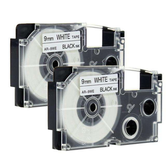 2 Stück Kompatibel für Casio EZ-Label Printer XR-9WE1 Schriftband Schwarz/Weiß
