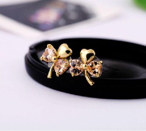 E612 Betsey Johnson Make Wish Crystal Lucky Shamrock Green Gemstone Earrings UK