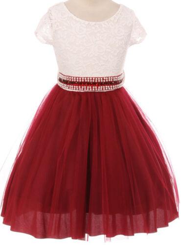 Flower Girl Dress Mesh Skirt with Pearl /& Stone Belt Burgundy JKS 2045