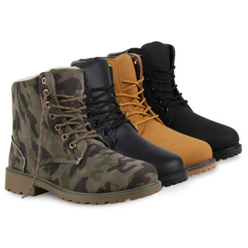 Damen Worker Boots Stiefeletten Outdoor Warm Gefütterte 812104 Schuhe