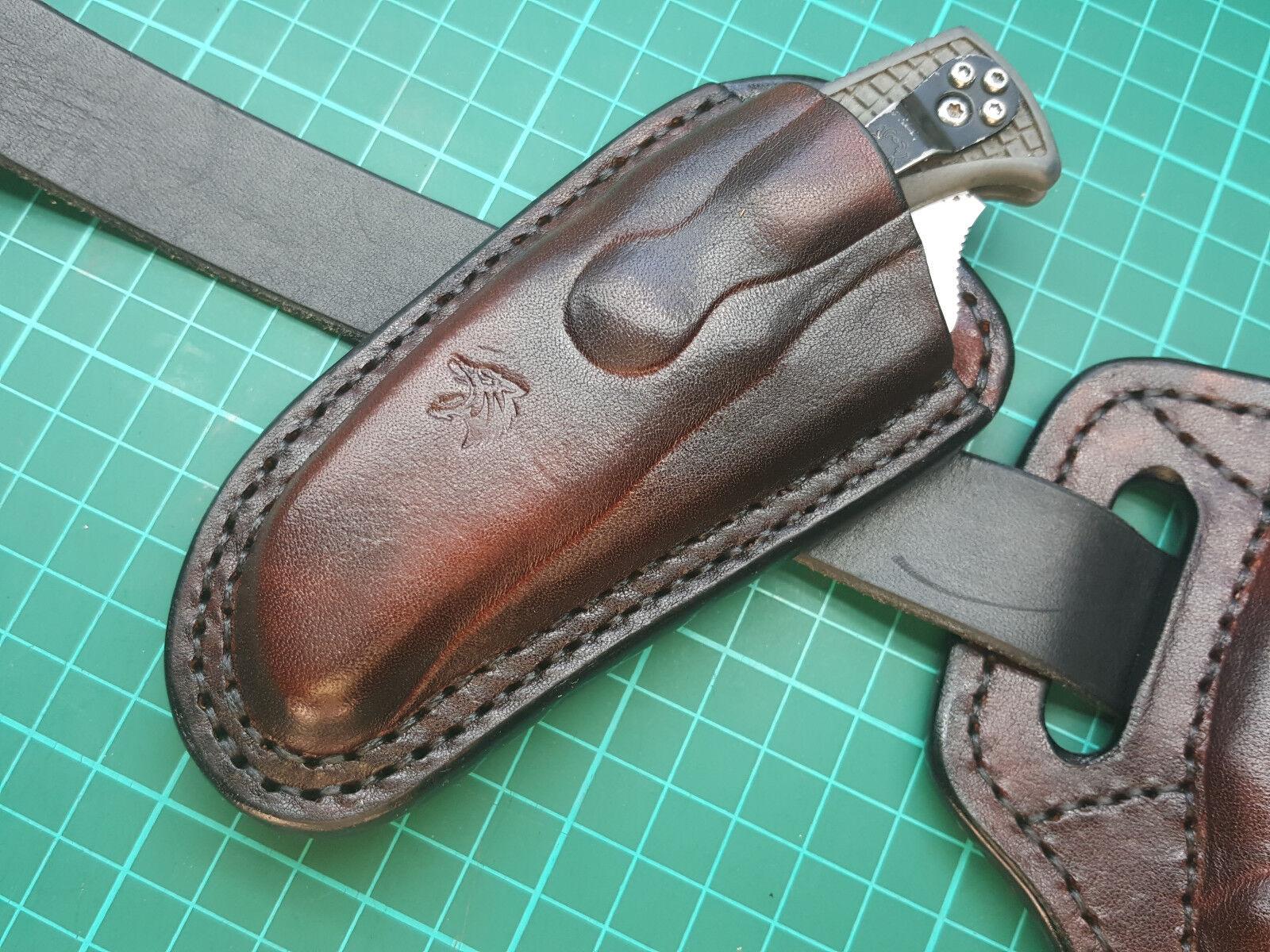 Leather pancake sheath for Spyderco Yojimbo 2 or Endura 4