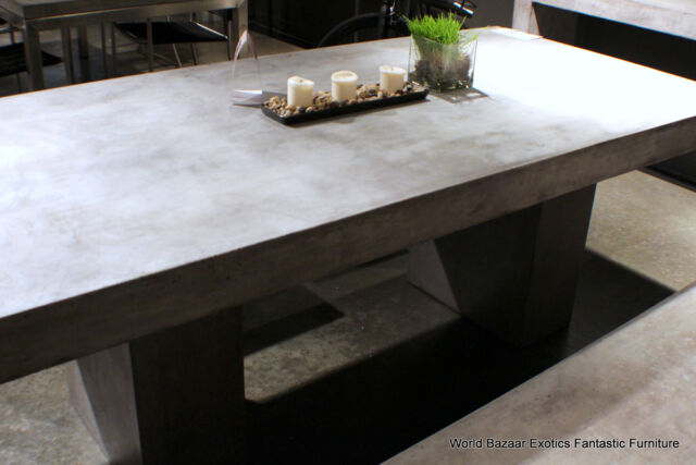 Rustic Concrete Top Dining Table Solid, Concrete Top Patio Table
