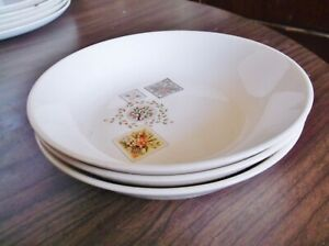 THREE Taylor Smith Taylor Brocatelle Soup Bowls , Ever Yours, Vintage 1957