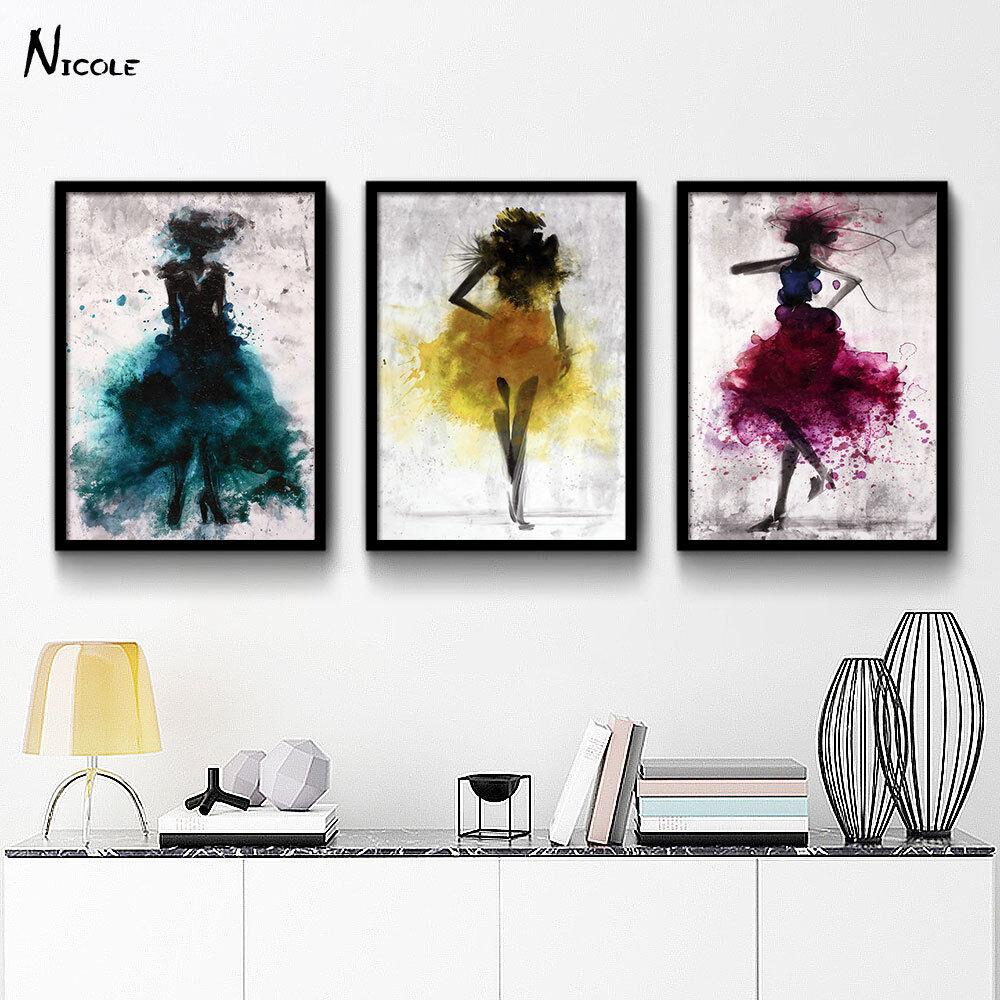 פוסטרים רקדנית בכמה צבעים- אומנות אבסטרקטית