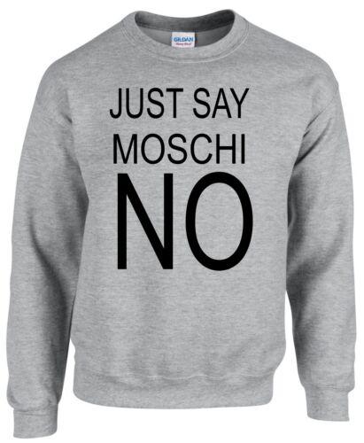 JUST SAY MOSCHI NO ~ DESIGNER FASHION ~ GREY SWEATSHIRT S-XXL