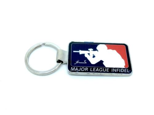 Major League Infidel Metal Keychain Red Blue Keyring Airsoft /& Paintball Gift