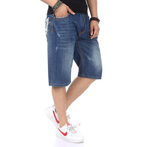 Mens-Shorts-Jeans-Relaxed-Classic-Fit-Hip-Hop-Denim-Shorts-Embroidery