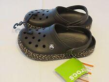 Crocs Mens Womens Crocband animal print clog espresso gold leopard M6 W8 mule