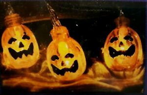 10er Led Kurbis Lichterkette Batteriebetrieben Halloween Grusel Deko Neu Ebay