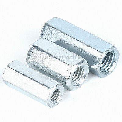 M6 CONNECTOR NUTS HEXAGON COUPLING NUTS ZINC  PACK OF 10 CONNECTING NUT