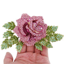 5.9'' Large Leaf Rose Flower Brooch Pin Austrian Crystal Pink Gold Tone Wom
