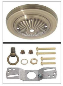 NEW-5-034-Antique-Brass-Embossed-steel-ceiling-canopy-w-Loop-amp-Hardware-kit