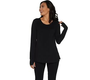 AnyBody-Loungewear-Women-039-s-Cozy-Knit-Relaxed-Peplum-Top-Black-Large-Size-QVC
