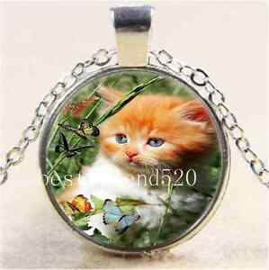 Cat-and-Butterfly-Cabochon-Glass-Tibet-Silver-Chain-Pendant-Necklace