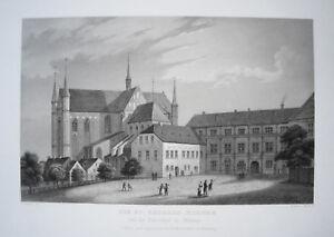 Wismar-Georgen-Kirche-Mecklenburg-Vorpommern-seltene-alte-Lithographie-1843