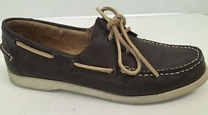 White-Mountain-Brown-Leather-Traditional-Boat-Shoes-Women-039-s-Size-9-5
