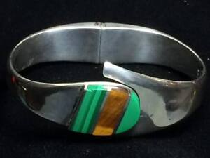 Mid-Century-Taxco-sterling-silver-Tiger-039-s-eye-Malachite-hinged-bangle-cuff