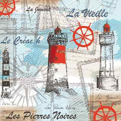 20 Paper Napkins SEA BREEZE French Lighthouse Decoration DECOUPAGE 33x33cm