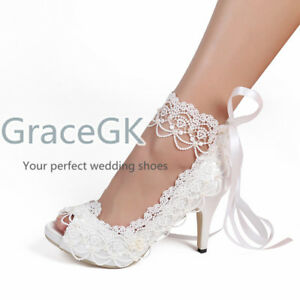 Lace Wedding Shoes.Details About Women Pumps Lace Wedding Bride Shoes Ankle Strap High Heels Satin Peep Toe