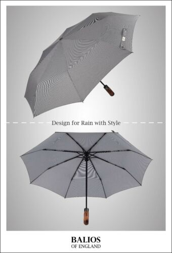 Houndstooth Balios® Compact Folding Umbrella Windproof Auto Open Close Real Wood