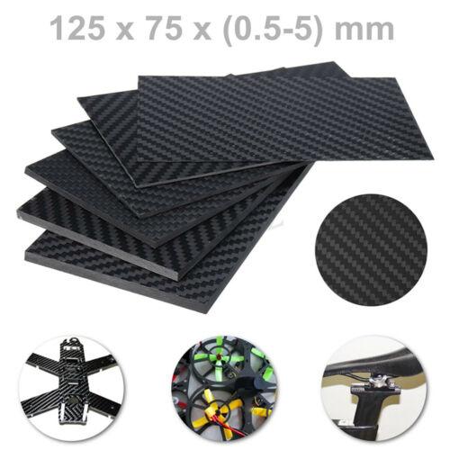 125x75x 0.5-5 mm Black Carbon Fiber Plate Panel Sheet Board Twill