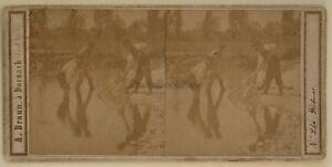 Pescatore Scena Da Genere Foto A. Braun Stereo Vintage Albumina c1865