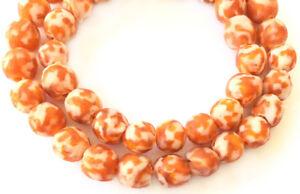 Handmade-Orange-and-white-multi-Krobo-recycled-Glass-African-trade-Beads-Ghana