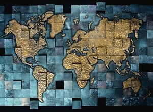3d simple dark blue world map wall paper wall print decal wall deco image is loading 3d simple dark blue world map wall paper gumiabroncs Image collections