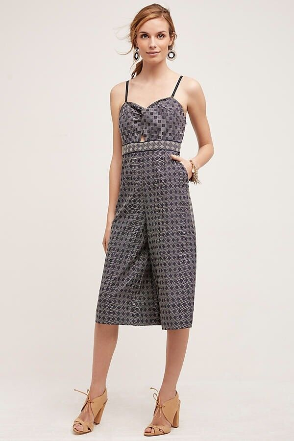 Anthropologie Elevenses Women's Navy Remy Cropped Pants Jumpsuit Size 12  128