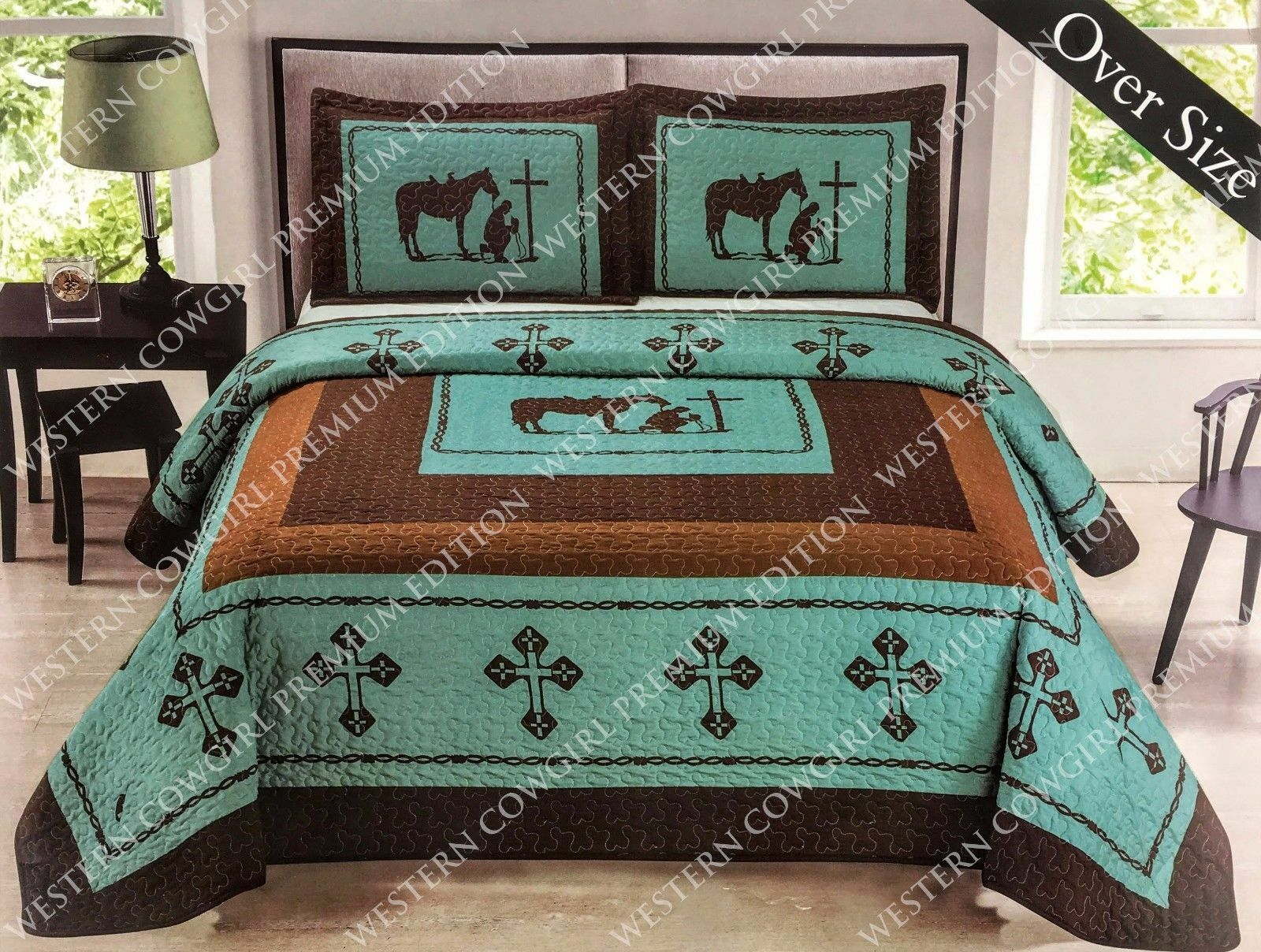 Texas Cross Praying Cowboy Western Quilt Bedspread
