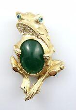 WHIMSICAL Vintage 1960s HATTIE CARNEGIE Jade Glass Belly FROG Design Brooch PIN