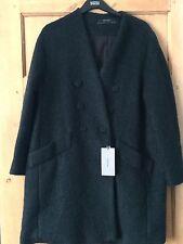 BNWT Zara Mohair Bottle Green Coat Size L RRP £99