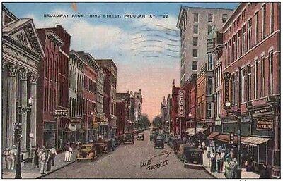 PR715 Broadway Third Street Paducah Kentucky KY 1940 Business Signs Linen PC