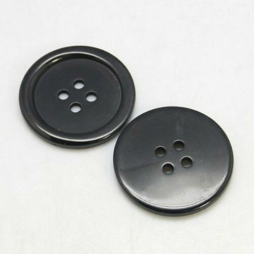 Packet Of 20 Flat Round Black Resin 4 Hole Buttons 20 x 3mm